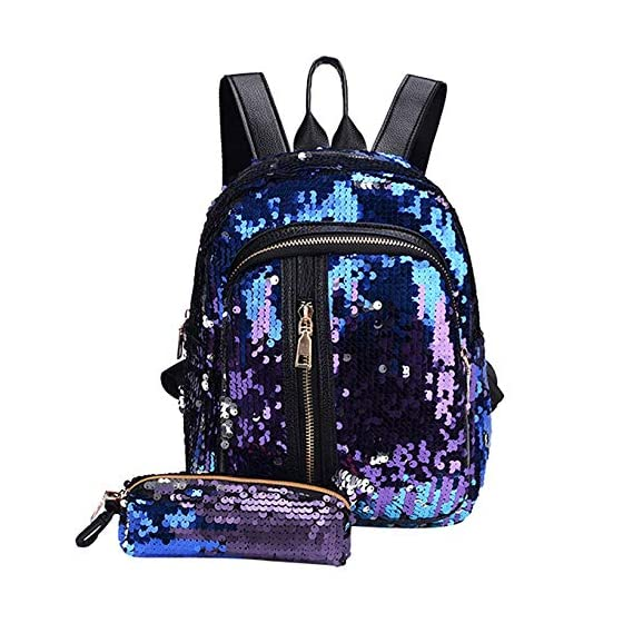 Generic 2pcs/Set Glitter Sequins Backpack New Teenage Girls Fashion Bling Rucksack Students School Bag with Pencil Case Clutch Mochilas Color Blue