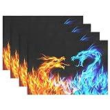 WAMIKA Platzdeckchen Set von 1, Rot Blau Fire Dragon Wärmedämmung schmutzabweisend rutschfest Mats Platzsets 30,5x 45,7cm für Esstisch Küche Abendessen Banquet, Polyester-Mischgewebe, multi, 12x18 inch