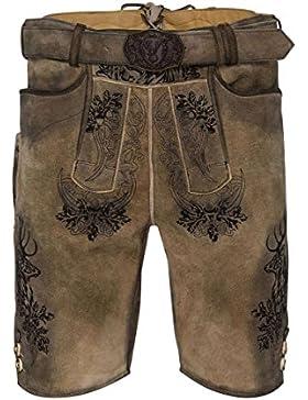 MOSER Trachten Lederhose kurz mit Gürtel hellbraun-schwarz Elvis 002420 von Spieth & Wenksy, Material Ziegenleder