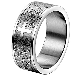 Oidea Herren Damen Ring Edelstahl Silber, 8mm Polished Bibel Gebet Kreuz Biker Verlobungsringe Trauringe, Größe 65