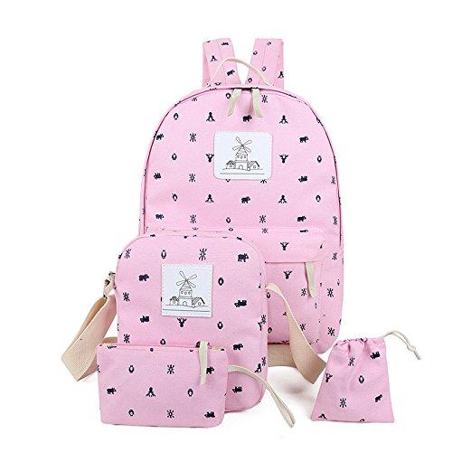 X&L Trends Leinwand vier-Stück drucken Schultern einfach Casual Rucksäcke Pink
