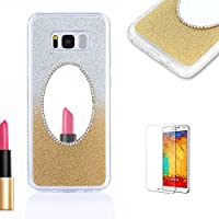 For Samsung Galaxy S6 Case [with Free Screen Protector},Funyye Soft Silicone Gel TPU Ultra Thin Slim Gold Glitter Gradual Color Changing Mirror Protective Rubber Bumper Case Cover Shell for Samsung Galaxy S6