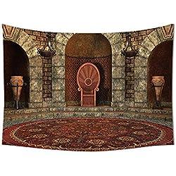 Gótico casa Decor tapiz colgar en la pared trono de rey en estilo vintage Palacio de araña arquitectura medieval tema dormitorio sala de estar dormitorio Decor Borgoña gris, 10W By 8L Inch