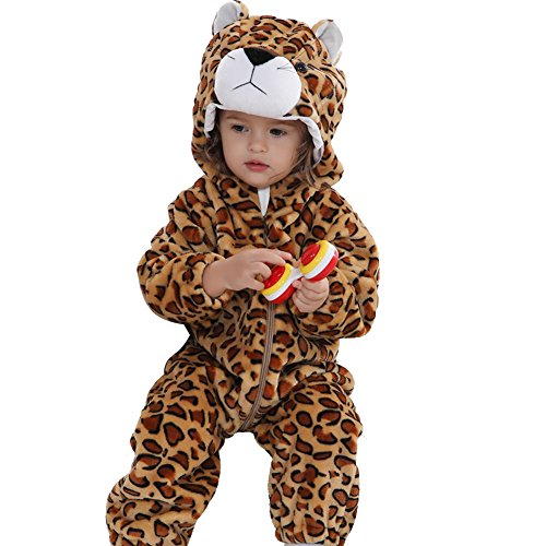 Freefisher Baby Overall aus Fleece, baby Kostüm Leopard,12-18 (Kostüm Leopard Baby)