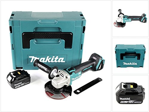 Makita DGA 504 18 V 125 mm brushless Akku Winkelschleifer im MAKPAC inkl. 1x BL 1850 Akku - ohne Ladegerät
