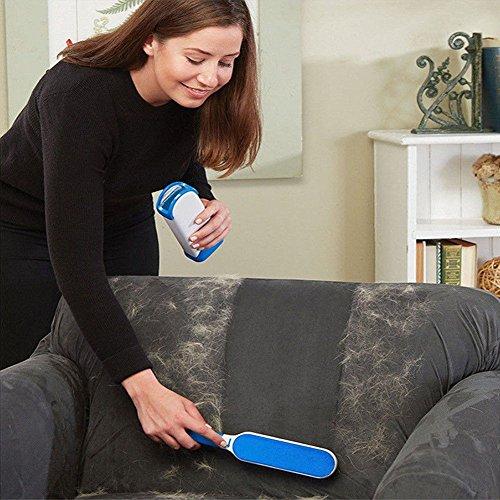 Pet Fur & Lint Remover con el Asistente de Tamaño de Viaje  Reutilizable Mascota Fur Remover con Auto Limpieza Base (Azul)