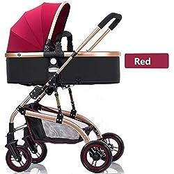 King Boutiques Poussette Pliante Poussette de pour bébé 2 en 1 Landau Paysage Haute Poussette portative Pliante pour bébé Système De Voyage (Color : Red, Taille : 34.64 * 25.78 * 41.53inchs)