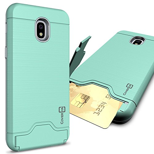 Samsung Galaxy J3 2018 Fall, Express Prime 3/J3 Star/J3 Prime 2/AMP Prime 3/Eclipse 2 J3/Aura/Galaxy erreichen Fall, coveron [securecard Serie] Hybrid Phone Cover w/Card Halter, Mint Teal (Phone Cricket Wireless Card)