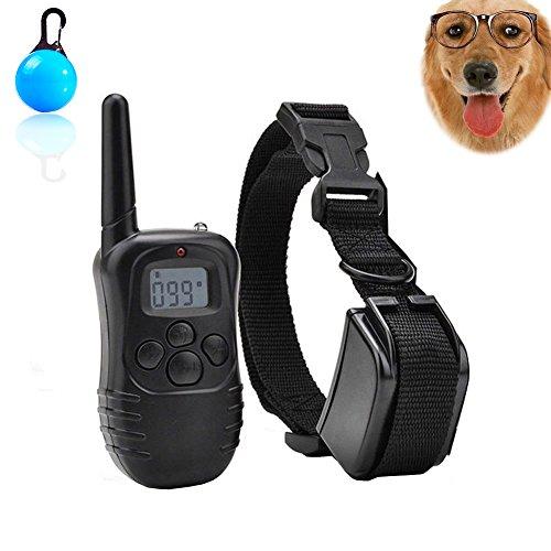 Collar de entrenamiento perro recargable y control remoto impermeable Anti ladridos Collar con gama de sonido y vibración No Shock Collar y 300 metros para 1 perro