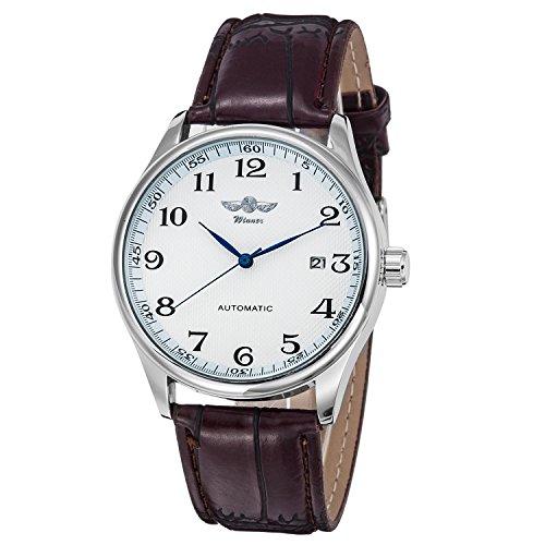 GuTe Mechanical Winner Herren-Armbanduhr, Mechanisches Aufziehuhrwerk, weißes Zifferblatt, blaue Zeiger, Armband aus PU-Lederimitat