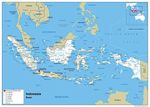 Indonesien Road Mauer Karte-Papier laminiert A0 Size 84.1 x 118.9 cm (Karte Indonesien)