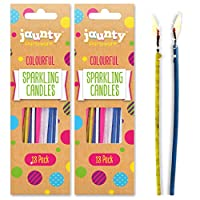 jaunty partyware 36pk Sparkling Cake Decorations | Birthday Party Cake Candles Stick | Birthday Candle Cake Decorations for Boys & Girls | Free Birthday Party Games Ebook