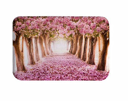 Bereich Pfad (A.Monamour Badematten Badteppiche Badvorleger Frühlingssaison Rosa Kirschblüten Bäume Gefallene Blumen Tief Lange Pfad Straße Romantische Flanell Fußmatten Eingang Weg Fußmatten Bereich Teppiche)