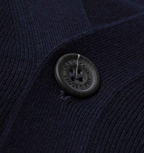 Lyle & Scott Herren Baumwolle Merino Logo Wolljackeknit, Blau Blau