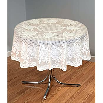 """Katwa Clasic - 54"""" Round Rose Lace Vinyl Dining Tablecloth (Peach)"""