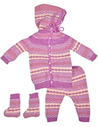 Little Bunnies Unisex Wool Clothing Set (Purple, 3 - 6 Months)