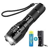 Rechargeable Lampe Torche LED Puissante,lampe de poche avec chargeur USB et 18650 batterie, meilleure torche pour le camping, la randonnée, les urgences auto, et la réparation de la maison