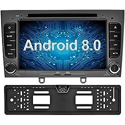 Ohok Android 8.0 Autoradio 2 Din pour Peugeot 308 2008 2009 2010 Oreo Octa Core Stéréo 4G+32G Sat Nav avec Lecteur DVD Supporte GPS Bluetooth WLAN Dab+ OBD2 7 Pouces écran,Gris