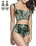Modetrend Femme Bikini 2 Pieces Bandage Imprimé Push-up Rembourré Maillot de Bain Shorty Taille Haute Bikinis
