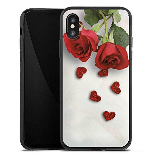 Apple iPhone X Silikon Hülle Case Schutzhülle Rose Roses and Hearts Herz Silikon Case schwarz