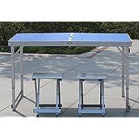 Yuan Table Mesa Plegable de Madera al Aire Libre - Conjunto de Silla - Camping con sombrillas y Cojines y Altura Ajustable - Madera de Pierna/Azul / Comedor Plegable y café y Mesa de Centro/Desk