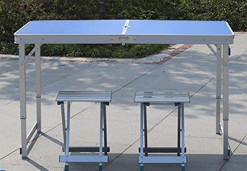 DS Wandtisch Outdoor-Klapptisch aus Holz - Stuhl-Set - Camping mit Sonnenschirmen und Kissen und höhenverstellbar - Bein Holz/blau/Klapp ESS-und Kaffee-und Couchtisch&& (Farbe : Package 1)
