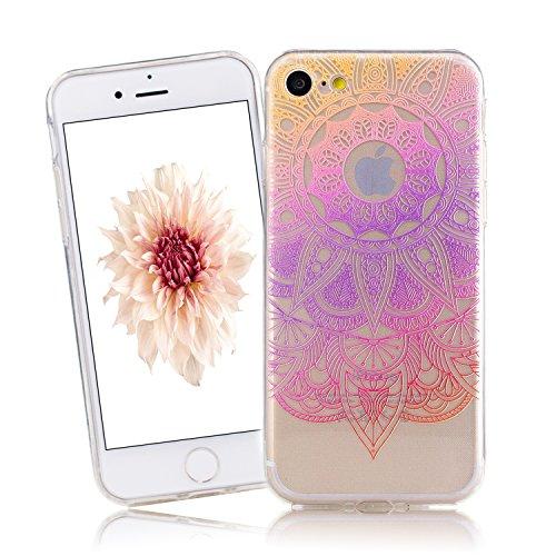 Cover iPhone 7, CaseLover iPhone 7 4.7 Pollici Cover Custodia Trasparente Rigida Flexible TPU Gel Silicone Ultra Sottile non è Facile Sbiadito Prevenire Graffi Disegno Bella Modello per Apple iPhone 7 Viola Mandala