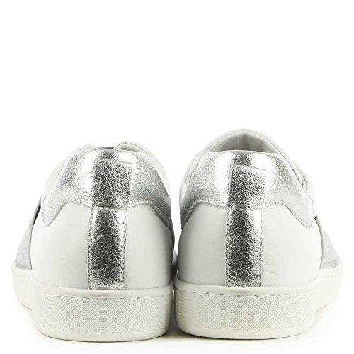 Argent De Spirées Daniel & Blanc Cuir Formateur Garniture élastique Silver Leather