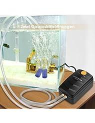 Amzdeal 2,5W Pompe à air pour aquarium réglable avec 2 sorties Pompe d'Oxygénation aquarium 11,6*6,8*5,7cm 2*2,5L/min(max)
