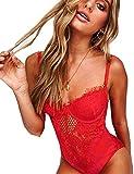 popiv Sexy Damen Spitze Große Body Dessous Erotik Bodysuit Nachthemd Nachtwäsche Negligee