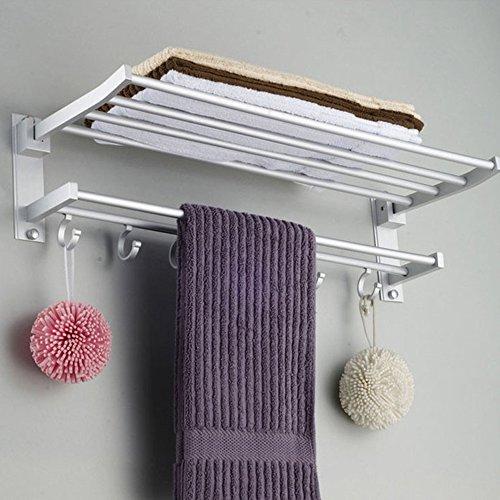 Modern Pared Almacenaje del montaje de la barra de Toalla de baño con 2 Capas de toallas con colgantes de almacenamiento Organizador y Baño toalla