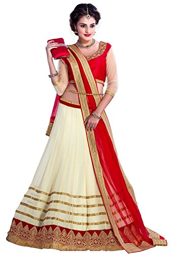 Sky Global Women\'s Georgette Lehenga Choli (SKY_Lehnga_113_Red & White)