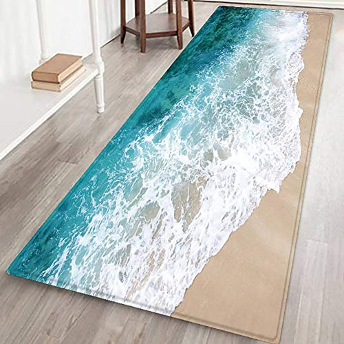 Handfly Soft Flannel No Slip Area Rug Doormat Carpet Floor Mat Rugs for Living Room Bedroom Kitchen Bathroom Study Room Europe Style Home Decorative Area Rugs and Mats,Blue sea and Beach