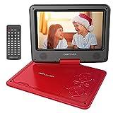 DBPOWER 9.5'' Tragbarer DVD-Player mit Wiederaufladbarer Batterie, Schwenkbaren Bildschirm, Unterstützt SD-Karte und USB, mit Spiele-Joystick, Auto-Ladegerät-Rot -