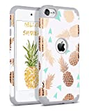 BENTOBEN Coque iPod Touch 2019, Coque iPod 6 /iPod 5, Etui de Protection Résistante Antichoc Durable 2 in 1 Double Couches PC + Silicone Flexible avec Motif Ananas pour iPod Touch 7 2019/5/6, Gris