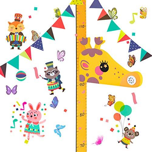 Surplex Gráfico de crecimiento giraffa 3D, EVA Magnético Móvil Extraíble Medidor de Altura Infantil, Musical, Pegatina Decorativa Infantil Adhesiva Para Pared Dibujos Animados Con Regla