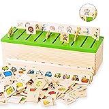 Alxcio Giocattolo di legno puzzle di legno giochi educativi Apprendimento Montessori l'insegnamento della scuola materna Scatola di ordinamento Doppio lato per Bambini