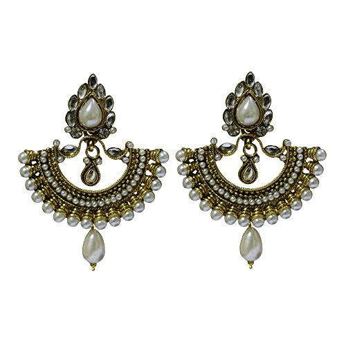 Ramleela Inspired Ethnic Traditional Dangle Earring for Women (Off-White) - UEBLER7016PL  available at amazon for Rs.399