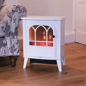 Limitless 2000W White Free-standing Stove Cast Iron Effect Electrical Fireplace Heater