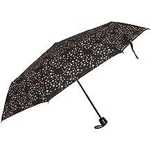 Severyn Paraguas compacto resistente al viento con estampado de lunares para mujer