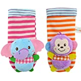 Haggai Notable Cute Animal Soft Baby Socks Toys Wrist Rattles and Foot Finders for Fun Elephant, Monkey,Panda and Lion Set(H01)
