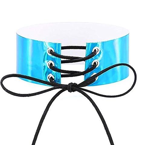 reixus (TM) Spitze bis Choker Rainbow Collier Frauen Gothic Choker Hals Boho Schmuck Harajuku geschoben Anime Laser Maxi Halskette Halskette, blau