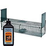 Lebendfalle Secure-L 103 cm + 500 ml Hagopur Marder Lockstoff - zuverlässige & sichere Tierfalle mit 2 Eingängen - sofort einsatzbereit & wetterfest - ideal für Marder, Katzen, Kaninchen, Iltis