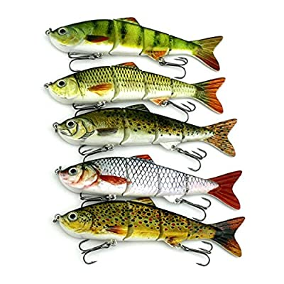 LinTimes Swimbaits Bionic Multi Jointed 4-Segement Pike Bass Fishing Lure Bait Tackle by LinTimes
