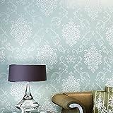 Auralum® 10M x 53CM Vliestapete Damaskus Muster Tapeten Mustertapete Beflockung in Backstein Tapeten für Wohnzimmer, Schlafzimmer Blaugrün