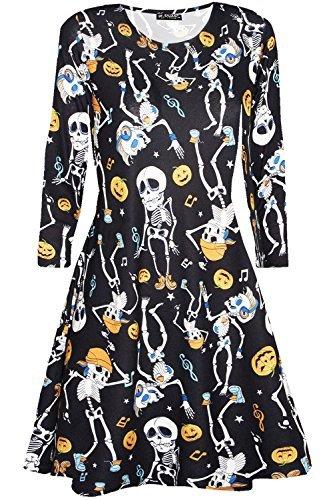 elett Schädel Pumpkin Halloween Kostüm Party Swing Kleid - tanzende Skelett, Plus Size XL (UK 16/18) (Skelett Halloween-kostüme Uk)