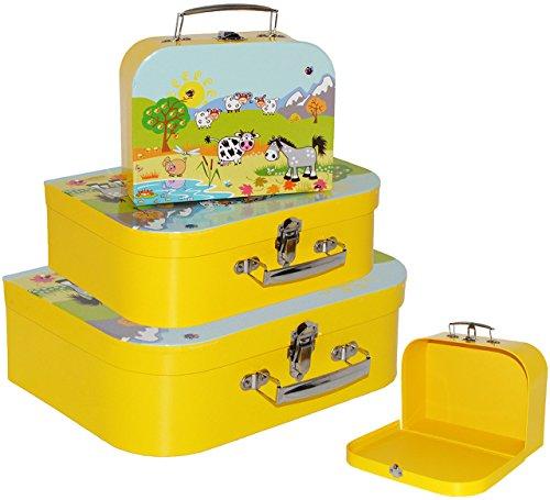 alles-meine.de GmbH 1 Stück _ Koffer / Kinderkoffer - GROß -  Bauernhof / Tiere  - 30 cm - ideal für Spielzeug und als Geldgeschenk - Mädchen & Jungen - Pappkoffer - Puppenkoff..