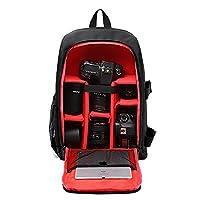 Huntvp Camera Backpack DSLR SLR Camera Bag Large Waterproof Anti-shock Rucksack Smart Photography Video Bag with Rain Cover(Size: 30*16*43cm) Red