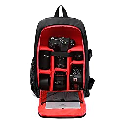Huntvp Camera Backpack Dslr Slr Camera Rucksack Large Waterpoof Anti-shock Smart Photography Video Bag With Rain Cover(size 30*16*43cm) Red