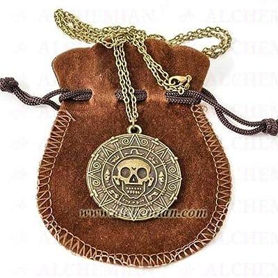 Collier Coin Azteca Cortes, Pirates des Caraïbes, La Malédiction de la Première Lune, ancienne couleur bronze